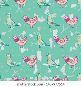 BIRDS AND FEATHERS colorful seamless pattern print illustration for textile, fabric, stationary etc.