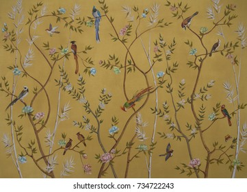 Birds and flowers on gold background
