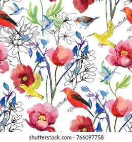 birds and flowers. seamless watercolor background.