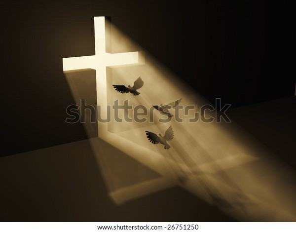 birds fly to God from dark