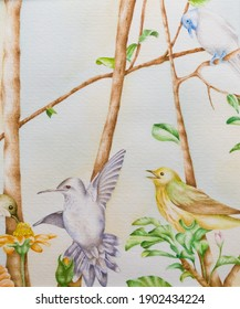 Birds flying over tree branches with leaves Persian style watercolor painting