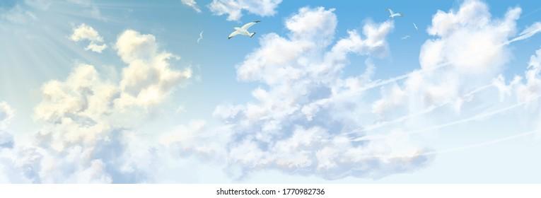 鳥が積乱雲で夏空を飛ぶ