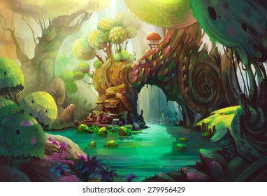 The birds' Heaven. This is deep inside the primeval forest. A mystery creature lives in the cabin. - Scene Illustration