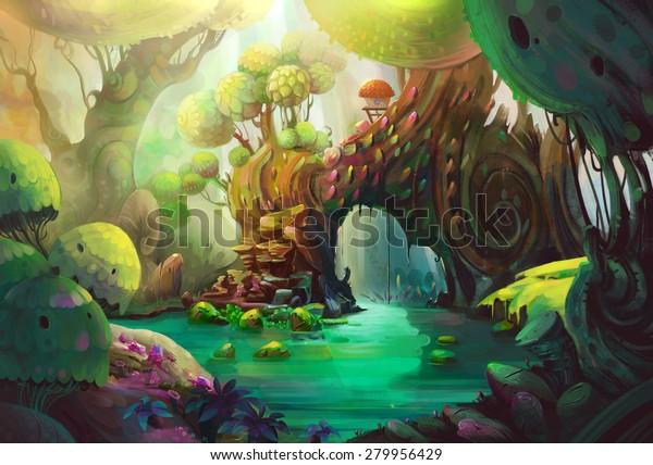 Птичий рай. Это глубоко внутри первобытного леса. таинственное существо живет в кабине. - Иллюстрация сцены