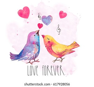 Birds in love. Valentine's Day. Love forever. Birds and hearts. Watercolor illustration on white background. Isolated. Postcard. Wedding card.