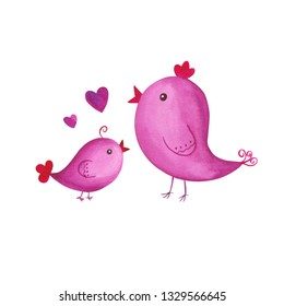Birds nestling watercolor doodle. Hand drawn cute illustration. Mother day theme. Spring awakening. Mommy and baby birdie. Water color hearts. Kawaii drawing. For logo, children care topic, card, etc.