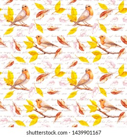 """Birds on autumn branch with yellow leaves and falling feathers. Seamless pattern with hand written text - """"I love you"""" words in different languages. Water color"""