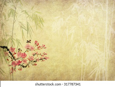 birds on plum blossom and bamboo on paper background