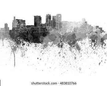 Birmingham AL skyline in black watercolor on white background