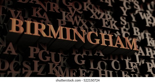 Birmingham - Wooden 3D rendered letters/message.  Can be used for an online banner ad or a print postcard.