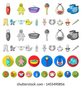 Birth of a baby cartoon icons in set collection for design. Newborn and accessories bitmap symbol stock web illustration.