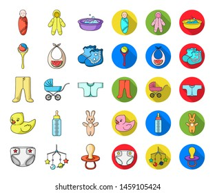 Birth of a baby cartoon,flat icons in set collection for design. Newborn and accessories bitmap symbol stock web illustration.