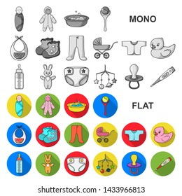 Birth of a baby flat icons in set collection for design. Newborn and accessories bitmap symbol stock web illustration.