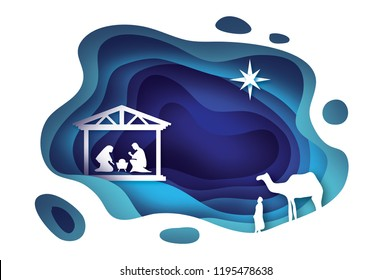 Birth of Christ. Baby Jesus in the manger. Holy Family. Magi. Three wise kings and star of Bethlehem - east comet. Nativity Christmas graphics design in paper cut style.