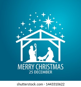 Birth of Christ scene card. Merry Christmas banner with Nightly christmas cribe with Mary and Joseph with baby Jesus. Illustration