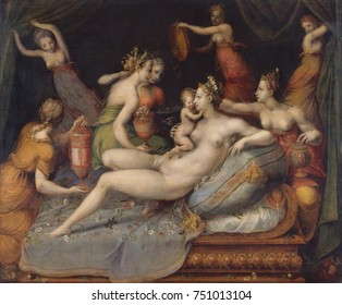 THE BIRTH OF CUPID, by Master of Flora, 1550-99, French painting, Mannerism, oil on wood. Birth of Cupid, with attendants ministering to his mother, Venus. This French mannerist composition is in the