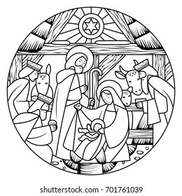 Birth of Jesus Christ scene in circle shape. Linear drawing for coloring book