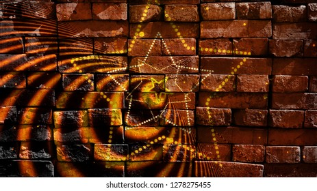 Birth of the stars. Star shapes on a colorful background. Virtual graffiti. Abstract image, drawn on a photo of a brick wall. Digital graphics by Igor Mishenev (artist-abstractionist).