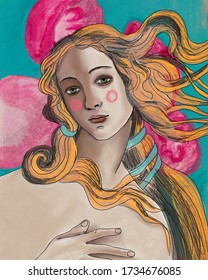 birth of venus illustration. Renaissance. Sandro Botticelli bright hair illustration. Black background with white jellyfish. Pop art background