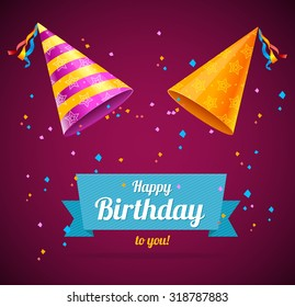 Birthay Card with two party hats and space for text