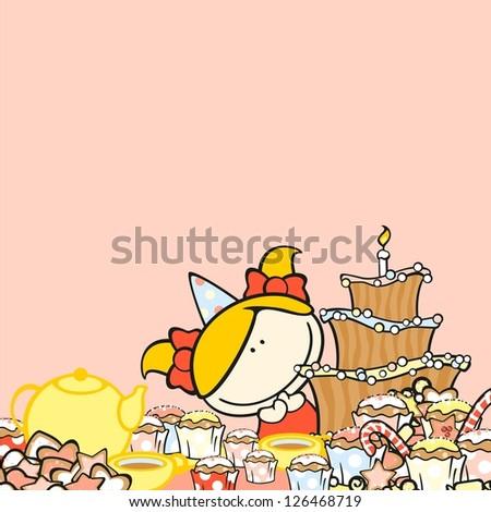 birthday background girl raster version stock illustration 126468719