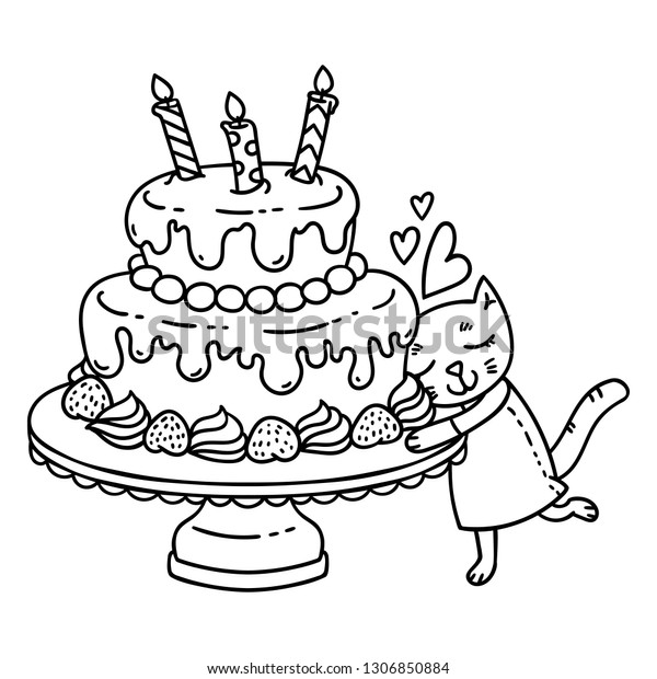 Birthday Cake Candle Cute Cat Isolated Stock Illustration 1306850884