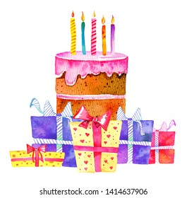 Birthday cake with candles and different gift boxes. Hand drawn cartoon watercolor sketch illustration on white background