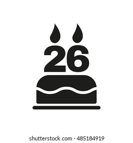The birthday cake with candles in the form of number 26 icon. Birthday symbol. Flat  illustration