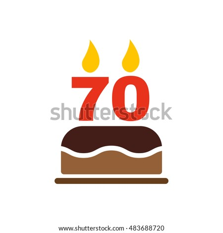 The Birthday Cake With Candles In Form Of Number 70 Icon Symbol