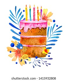 Birthday cake with candles and stylized plants  on the background. Hand drawn cartoon watercolor sketch isolated illustration