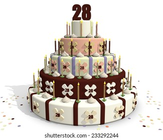 Birthday Cake With Chocolate And Cream Celebrating An Anniversary On Top Of The