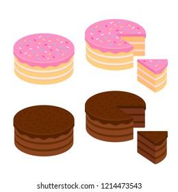 Birthday cake and chocolate cake isometric set, whole and cut slice. Isolated illustration.