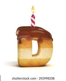 Birthday cake font letter D