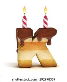 Birthday cake font letter K