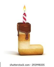 Birthday cake font letter L
