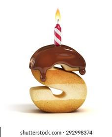 Birthday cake font letter S