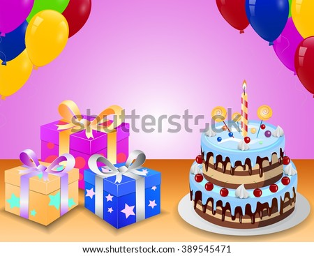 Birthday Cake With Gift Box And Balloons