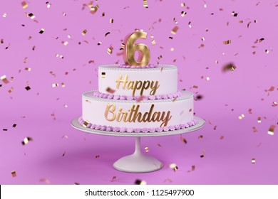 birthday cake with golden letters and rose background 3d Illustration