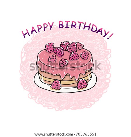 Birthday Cake Happy Birthday Card Template Stock Illustration