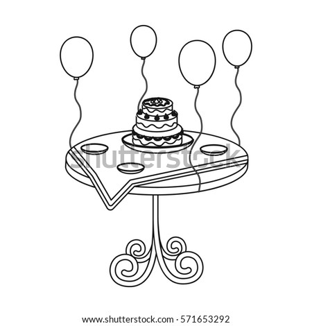 Birthday Cake On Table Icon Outline Stock Illustration 571653292