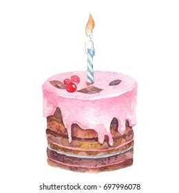 Birthday cake with pink cream and candle on white background watercolor stock illustration