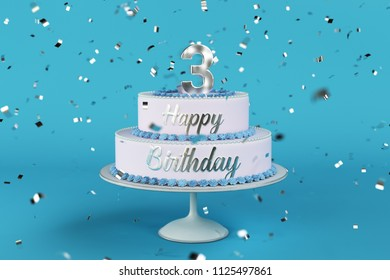 birthday cake with silver letters and blue background 3d Illustration