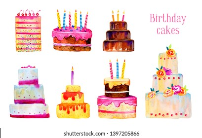 Birthday cakes with candles and decorations. Hand drawn stylized cartoon watercolor sketch illustration set isolated on white background