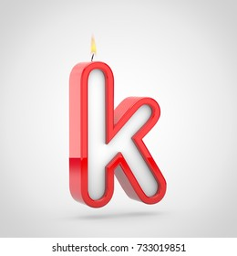 Birthday candle letter K lowercase. 3D render of cake candle font with wick and flame isolated on white background.