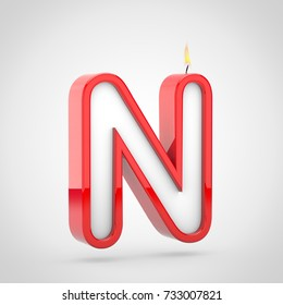 birthday candle letter n uppercase 3d render of cake candle font with wick and flame