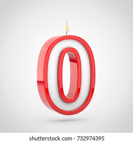 Birthday candle number 0. 3D render of cake candle font with wick and flame isolated on white background.