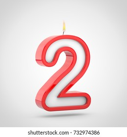 Birthday candle number 2. 3D render of cake candle font with wick and flame isolated on white background.