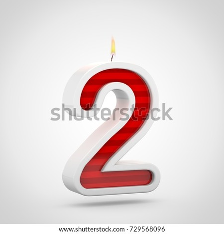 Birthday Candle Number 2 3D Render Of Red And White Cake Font With Wick
