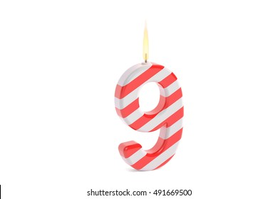 Birthday candle with number 9, 3D rendering isolated on white background