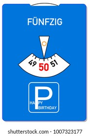 Birthday card for 50th birthday with the German word for fifty